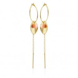 Øreringe med blad, kæde og laksefarvet søbambus - 5629-2-129