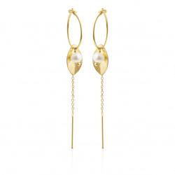 Øreringe med blad, kæde og ferskvandsperle - 5629-2-900