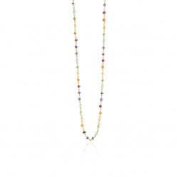 Halskæde i forgyldt sølv med regnbuefarvede sten - 1869-2-45-556