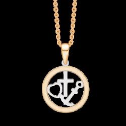 Tro, håb og kærlighed i 8kt guld incl. forgyldt kæde - SD66117966