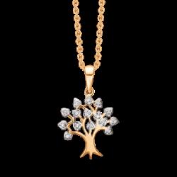 Livets træ i 14 kt guld med brillanter incl. forgyldt kæde - SD76205944