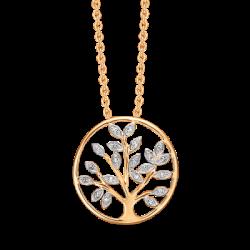 Livets træ i 14 kt guld med brillanter incl. forgyldt kæde - SD76205044