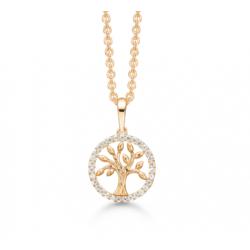 Livets træ i 8 kt guld i cirkel med zirconia incl. forgyldt kæde - SD66242028