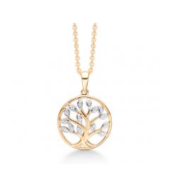 Livets træ i 8 kt guld incl. forgyldt kæde - SD66205948