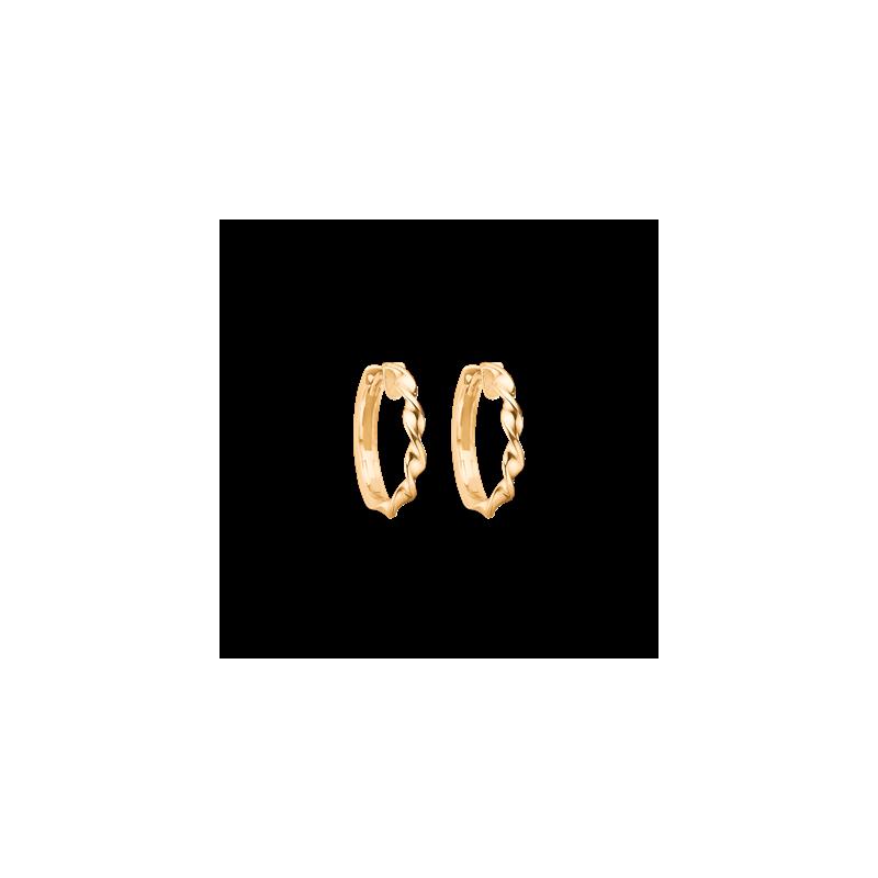Guld creoler i 8kt med snoet tråd