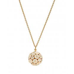 Marguerit halskæde med kugle i forgyldt sølv - 902502080-M