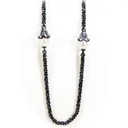 Halskæde i oxideret sølv med ferskvandsperle - 99402-45 -1