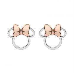 Disney sølv ørestikker åbne Minnie Mouse med rosa sløjfe - 10333003