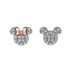 Disney sølv ørestikker Minnie- og Mickey Mouse med zirkonia - 10333993