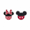 Disney sølv ørestikker Minnie- og Mickey Mouse rød-sort - 10333999