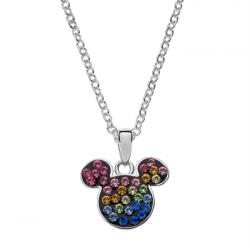 Disney sølv halskæde Mickey Mouse med regnbuefarvet sten  - 16333001