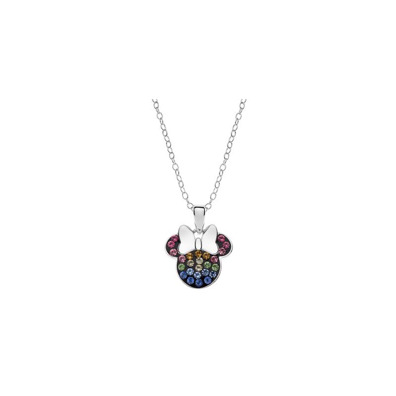 Disney sølv halskæde Minnie Mouse med regnbuefarvet sten  - 16333002