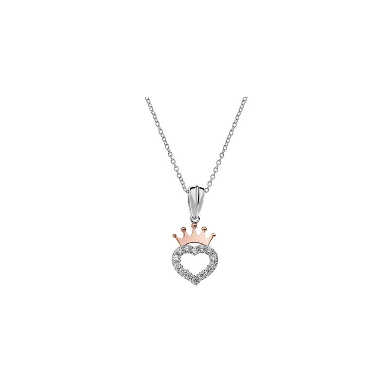 Disney sølv halskæde Prinsesse hjerte med rosa krone  - 16333004