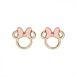 Disney 9 kt. guld ørestikker åbne Minnie Mouse med rosa sløjfe - 60333011