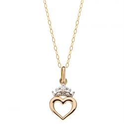 Disney 9 kt. guld vedhæng Prinsesse hjerte med krone incl. forgyldt kæde - 66333012