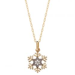 Disney 9 kt. guld vedhæng Frost snefnug incl. forgyldt kæde - 66333015