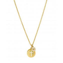 Marguerit kæde i forgyldt sølv med kors i mønt 15mm - 9025036-M