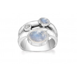 Ring i sølv med Månesten og hvid topas - Casual Curve - 75616330