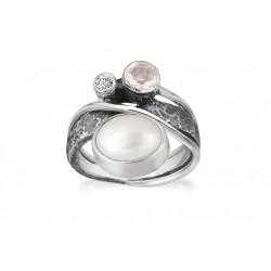 Ring i sølv med rosenkvarts og hvid ferskvandsperle - Glamorous Pearl - 72116301