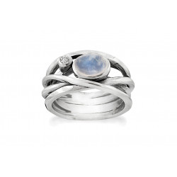 Ring i sølv med Månesten og hvid topas - Curly - 75216330