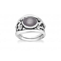 Ring i sølv med grå månesten og zirkonia - Glamorous Grey - 74116354