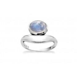 Ring i sølv med Månesten - Marble Blue - 71516330