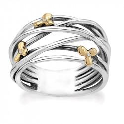 Ring i sølv 14 kt. guld blomster og diamanter - Golden Flower - 74017650
