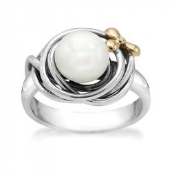Ring i sølv - Pearl and Golden Flower - 74017301