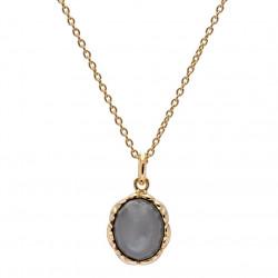 Vedhæng forgyldt sølv med grå månesten inkl. kæde - Affection - 76120101