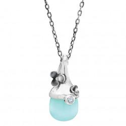 Vedhæng i sølv med farvede sten inkl. kæde - Delight - 75416153