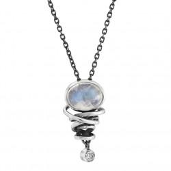 Halskøde i sølv med månesten og hvid topas - Curly - 75216130