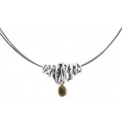 Viklet vedhæng i sølv med moldavit - Moss - 73814174