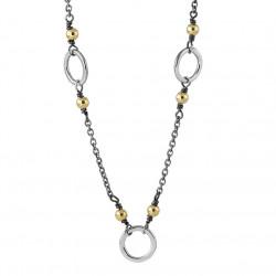Halskæde i sølv med 14kt. guldkugler og sølvringe - Golden Bubbles - 72417600
