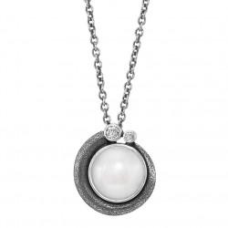 Halskæde i sølv med ferskvandsperle og hvid topas - Devine White - 71416101