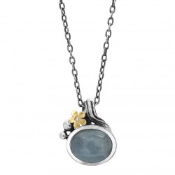 Vedhæng i sølv med aquamarin og guldblomst inkl kæde - Hawaii - 72217134
