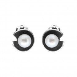 Øreclips i sølv med hvid ferskvandsperle - Blooming Moods - 56916801