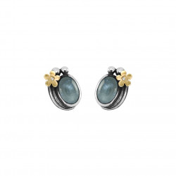 Øreringe i sølv med guldblomst - Hawaii - 70717527