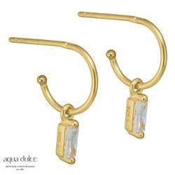 Øreringe med baguette og klar zirkonia 10mm - Ane - 3934 - 1
