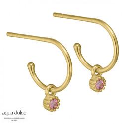 Øreringe med blomst og rosa zirkonia 10mm - Iben - 3932 - 1