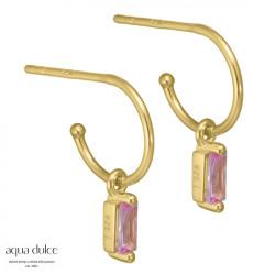 Øreringe med baguette og rosa zirkonia 10mm - Aya - 3936 - 1