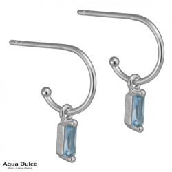 Øreringe med baguette og lyseblå zirkonia 10mm - Ally - 3937 - 1