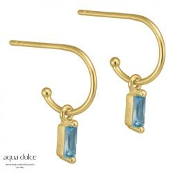 Øreringe med baguette og lyseblå zirkonia 10mm - Ally - 3938 - 1