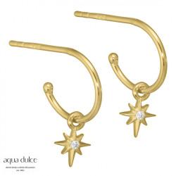 Øreringe med stjerne og klar zirkonia 10mm  - Sigrid - 3922 - 1