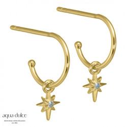 Øreringe med stjerne og blå zirkonia 10mm - Solveig - 3924 - 1
