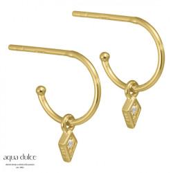 Øreringe med harlekin og klar zirkonia 10mm - Herdis - 3926 - 1