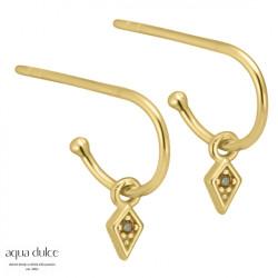 Øreringe med harlekin og olivenfarvet zirkonia 10mm - Henny - 3928 - 1