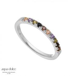 Ring i sølv med række af farvede zirkonia - Elena - 4348