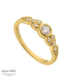 Ring i forgyldt sølv med smukke, klare zirkonia - Lilja - 4374 - 1