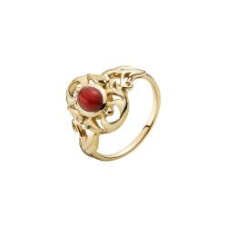 Guld ring 14kt. med mønster og koral - 5071192-18