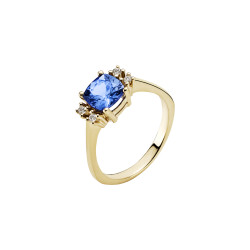 Guld ring 14kt. med tanzanit og diamanter - 5071198-47
